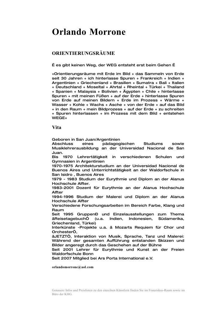 Orlando Morrone  ORIENTIERUNGSRÄUME  … es gibt keinen Weg, der WEG entsteht erst beim Gehen …  +Orientierungsräume mit Erd...