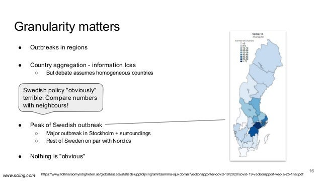 www.scling.com Granularity matters 16 ● Outbreaks in regions ● Country aggregation - information loss ○ But debate assumes...