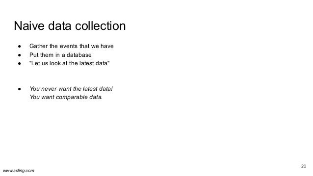 """www.scling.com Naive data collection ● Gather the events that we have ● Put them in a database ● """"Let us look at the lates..."""