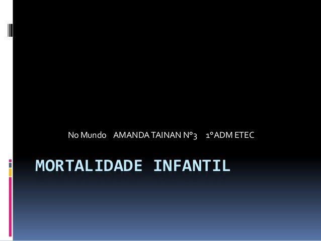 MORTALIDADE INFANTIL No Mundo AMANDATAINAN N°3 1°ADM ETEC