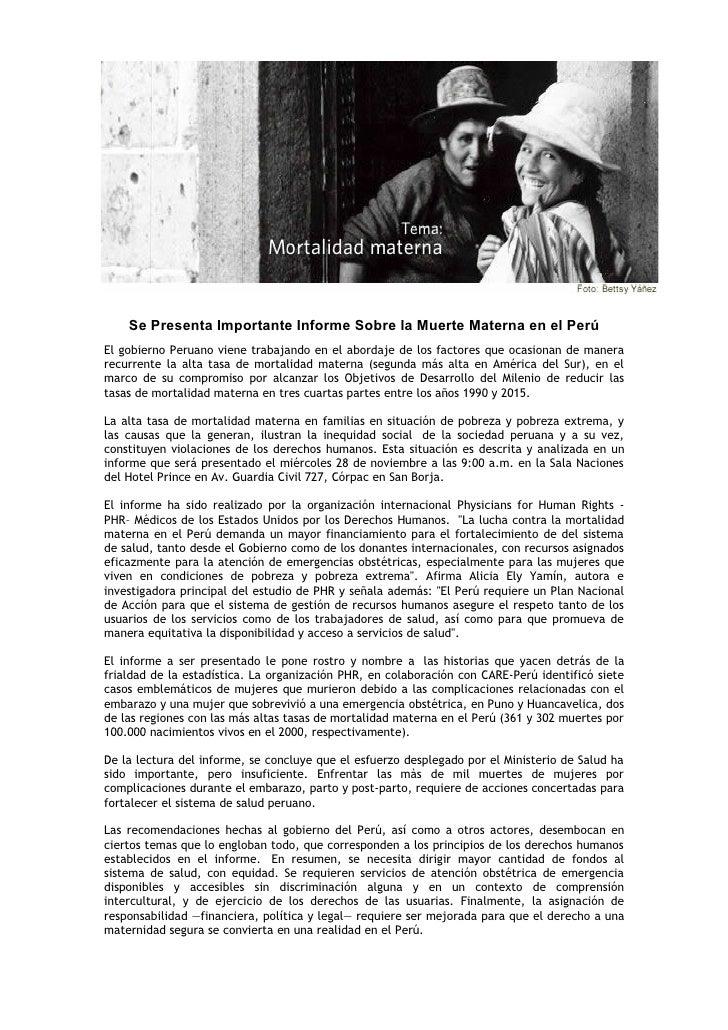 Se Presenta Importante Informe Sobre la Muerte Materna en el Perú El gobierno Peruano viene trabajando en el abordaje de l...