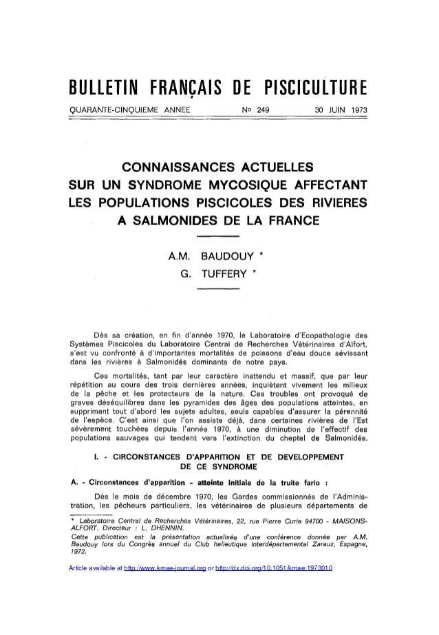 BULLETIN FRANÇAIS DE PISCICULTUREQUARANTE-CINQUIEME              ANNEE                          No 249                    ...