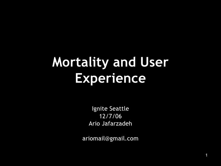 Mortality and User Experience Ignite Seattle 12/7/06 Ario Jafarzadeh [email_address]