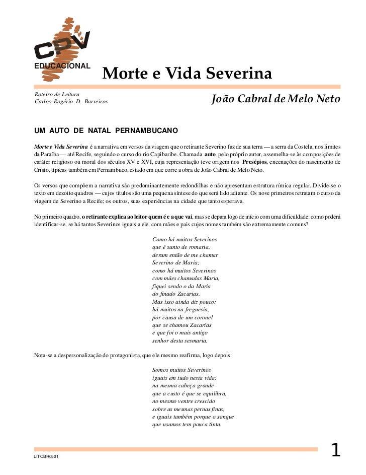 EDUCACIONAL                             Morte e Vida SeverinaRoteiro de LeituraCarlos Rogério D. Barreiros                ...