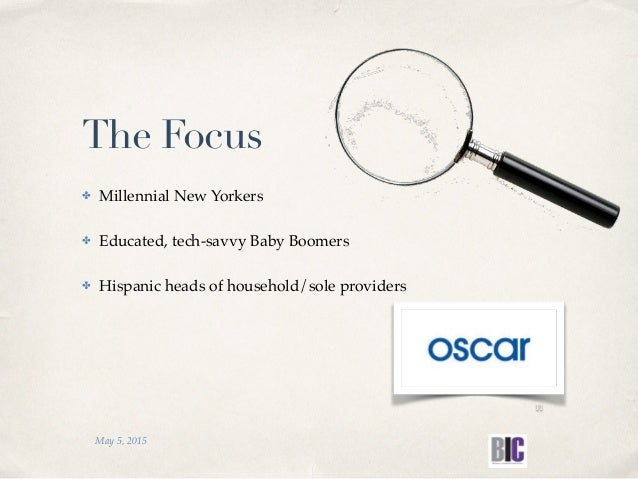 The Focus ✤ Millennial New Yorkers ✤ Educated, tech-savvy Baby Boomers ✤ Hispanic heads of household/sole providers May 5,...