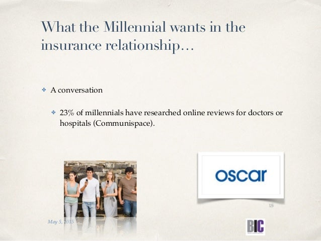 What the Millennial wants in the insurance relationship… ✤ A conversation ✤ 23% of millennials have researched online revi...