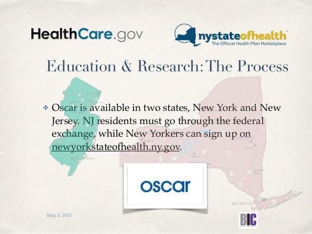 Education & Research:The Process ✤ Oscar is available in two states, New York and New Jersey. NJ residents must go through...