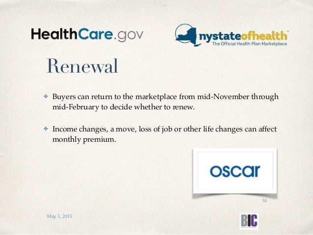 Renewal ✤ Buyers can return to the marketplace from mid-November through mid-February to decide whether to renew. ✤ Income...