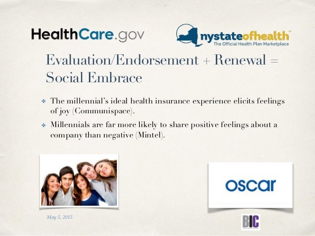 Evaluation/Endorsement + Renewal = Social Embrace ✤ The millennial's ideal health insurance experience elicits feelings of...