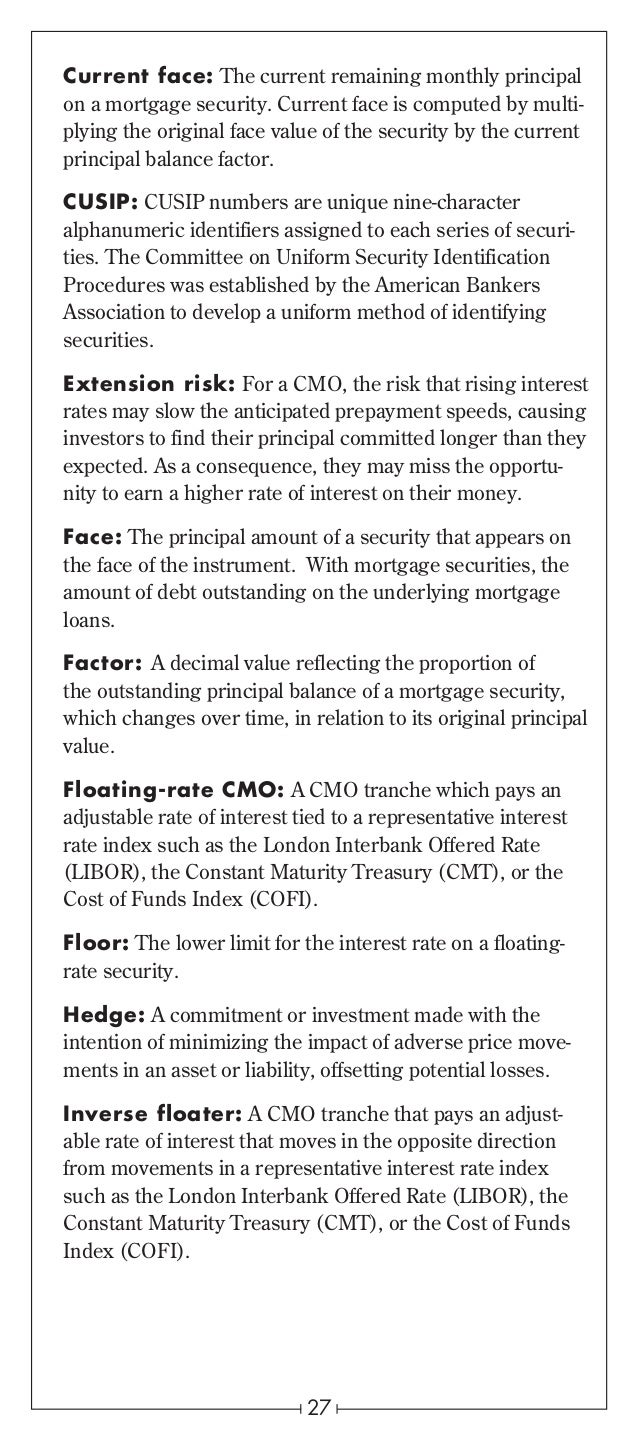 Mortgage Backed Securities Original Face