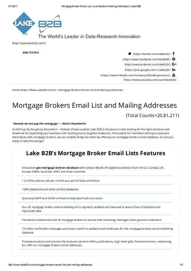 Email list of Mortgage Brokers