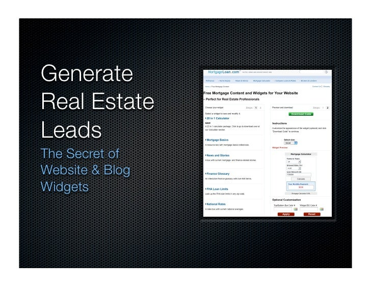 Generate Real Estate Leads The Secret of Website & Blog Widgets