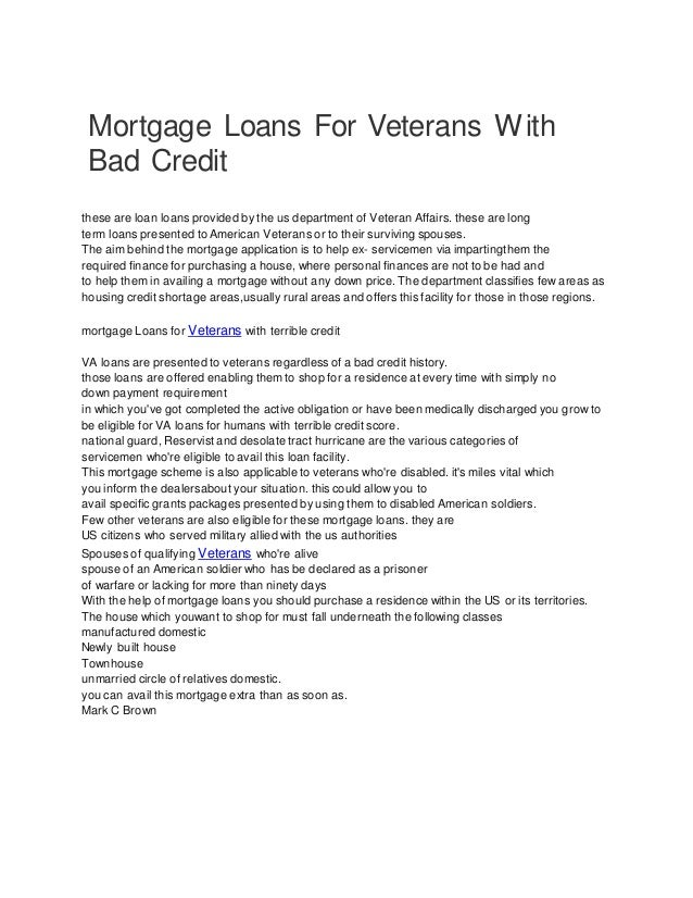 Loans For Veterans With Bad Credit >> Mortgage Loans For Veterans With Bad Credit