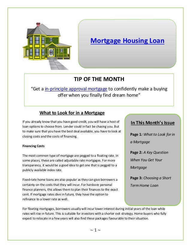 """Mortgage Housing Loan                                      TIP OF THE MONTH      """"Get a in-principle approval mortgage to ..."""