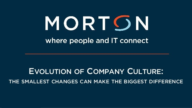 EVOLUTION OF COMPANY CULTURE: THE SMALLEST CHANGES CAN MAKE THE BIGGEST DIFFERENCE
