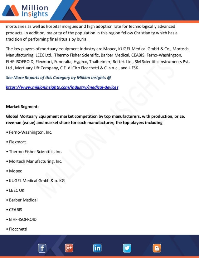 Mortuary Equipment Market Capacity, Production, Revenue