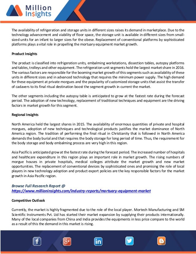 Mortuary equipment market methodology, overview