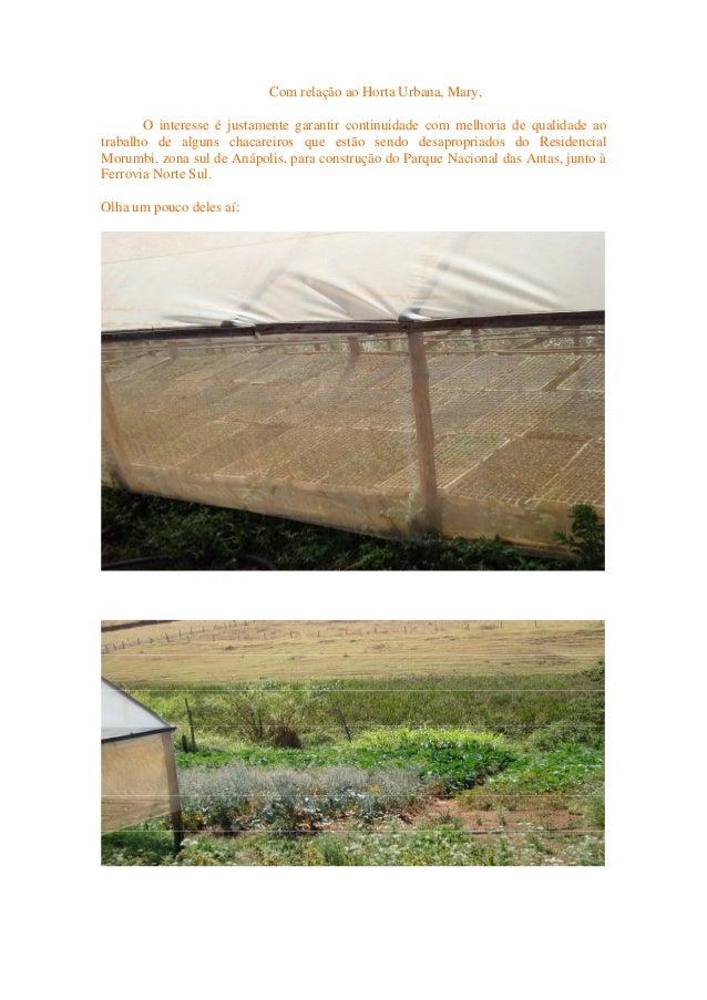 Com relação ao Horta Urbana, Mary, O interesse é justamente garantir continuidade com melhoria de qualidade ao trabalho de...