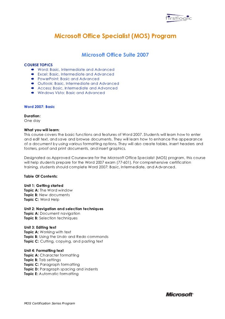 Microsoft Office Course Outline