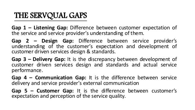 dimensions of service quality servqual model marketing essay In particular, the servqual model is designed to help service firms identify areas of service weakness in order to implement improvement strategies ideally, it also acts as an early warning system, as the model can be used to track service quality over time, providing long-term trends, performance benchmarks and the early identification of.