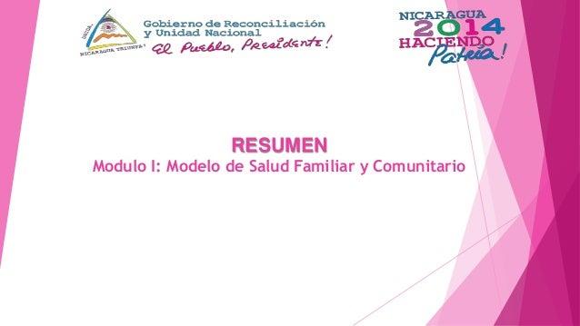 RESUMEN Modulo I: Modelo de Salud Familiar y Comunitario