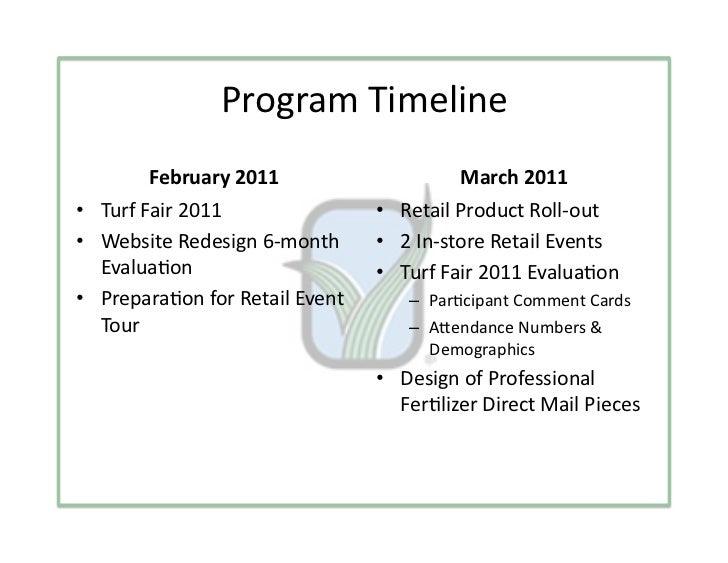 ProgramTimeline        February2011                     March2011• TurfFair2011                • RetailProduc...