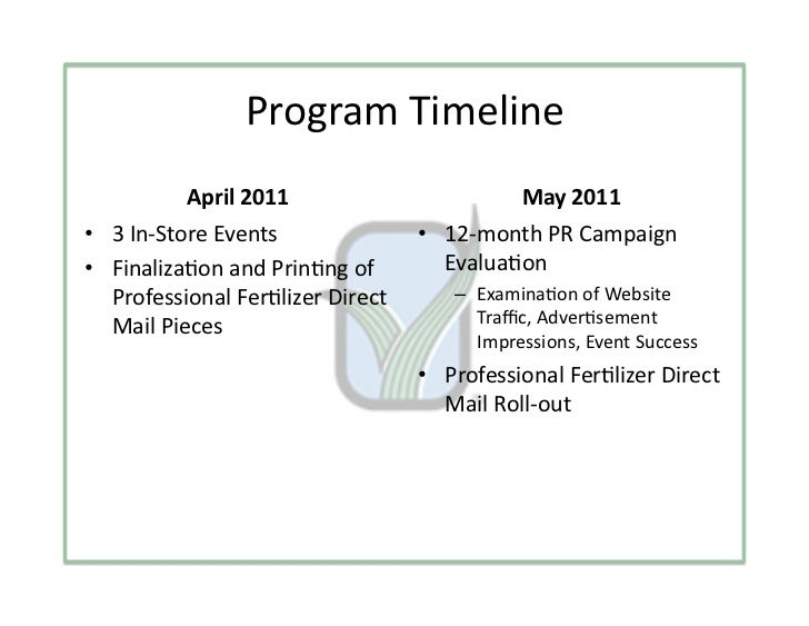 ProgramTimeline          April2011                          May2011• 3In‐StoreEvents               • 12‐monthP...