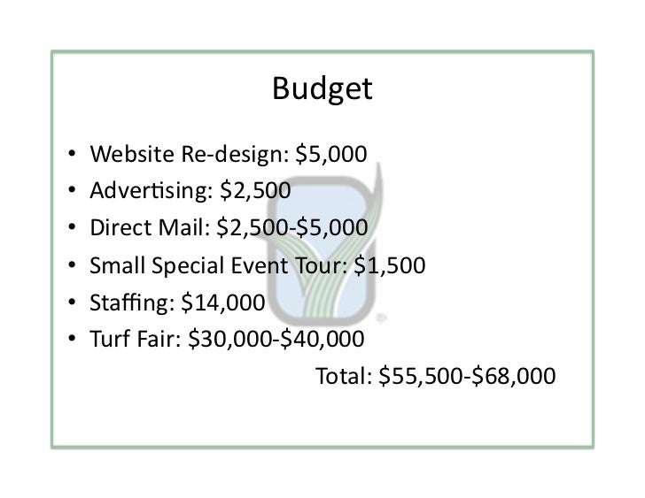 Budget•    WebsiteRe‐design:$5,000•    Adver3sing:$2,500•    DirectMail:$2,500‐$5,000•    SmallSpecialEvent...
