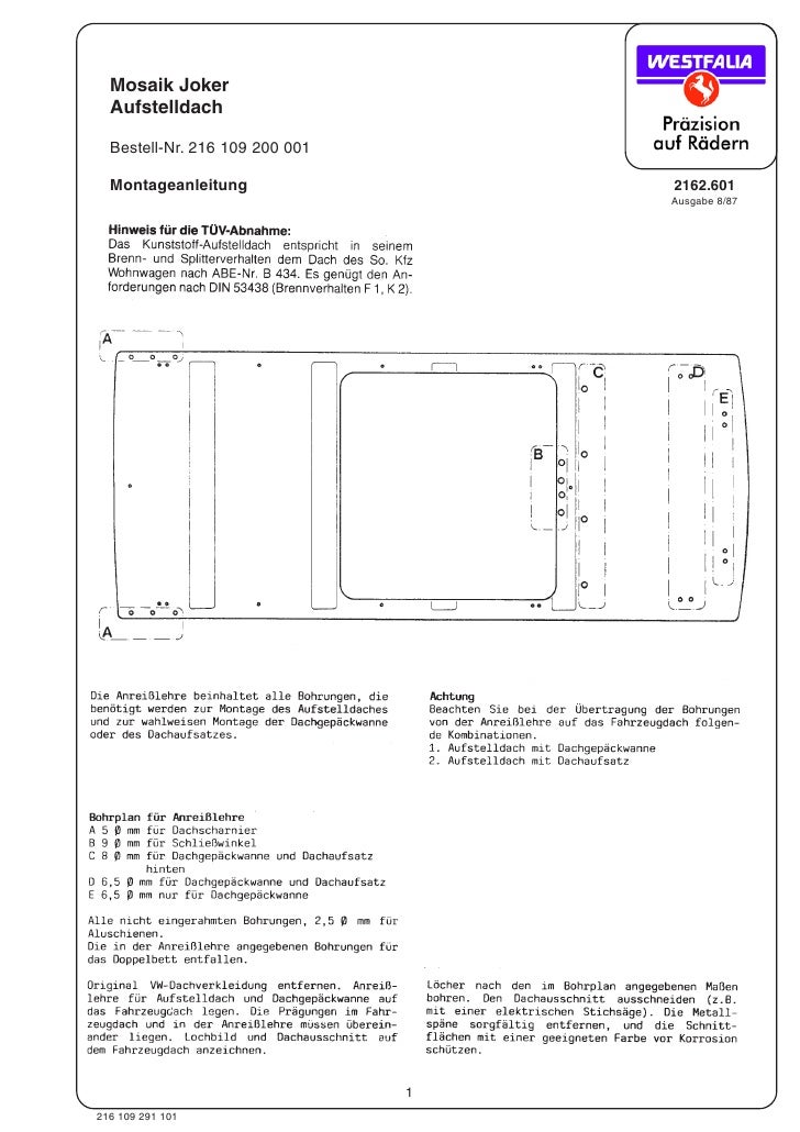 Mosaik Joker   Aufstelldach    Bestell-Nr. 216 109 200 001    Montageanleitung                  2162.601                  ...
