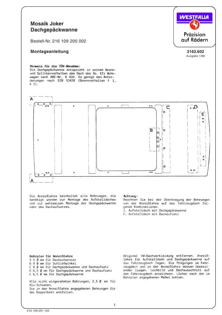 Mosaik Joker   Dachgepäckwanne    Bestell-Nr. 216 109 200 002    Montageanleitung                  2162.602               ...