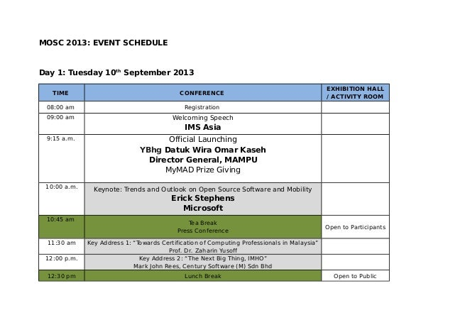 MOSC 2013: EVENT SCHEDULE Day 1: Tuesday 10th September 2013 TIME CONFERENCE EXHIBITION HALL / ACTIVITY ROOM 08:00 am Regi...