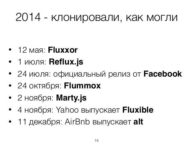 2014 - клонировали, как могли • 12 мая: Fluxxor • 1 июля: Reflux.js • 24 июля: официальный релиз от Facebook • 24 октября: ...