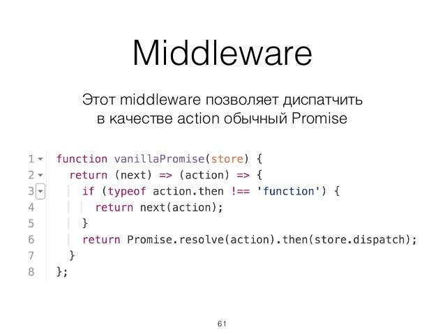 Middleware Этот middleware позволяет диспатчить в качестве action обычный Promise 61
