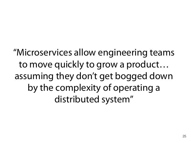 """25 """"Microservices allow engineering teams to move quickly to grow a product… assuming they don't get bogged down by the co..."""