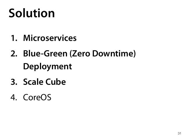 31 Solution 1. Microservices 2. Blue-Green (Zero Downtime) Deployment 3. Scale Cube 4. CoreOS