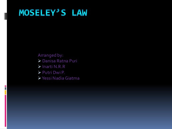 Moseley's Law<br />Arranged by:<br /><ul><li>DanisaRatnaPuri
