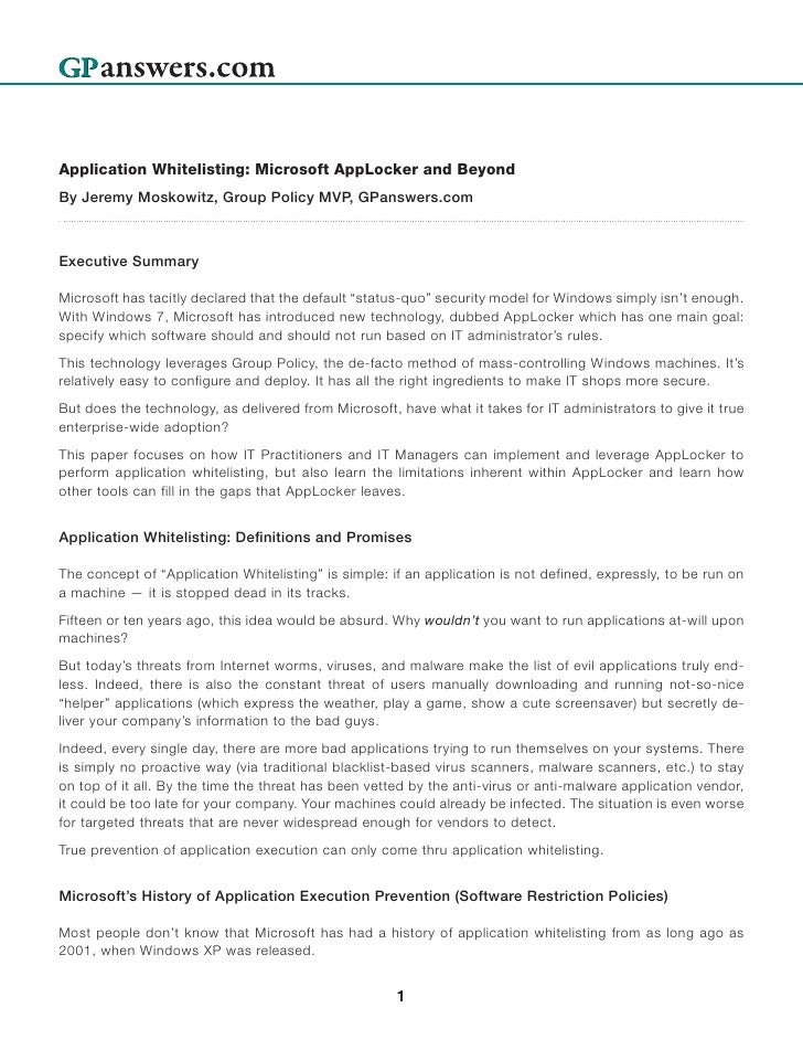Moskowitz Whitepaper Microsoft App Locker And Beyond