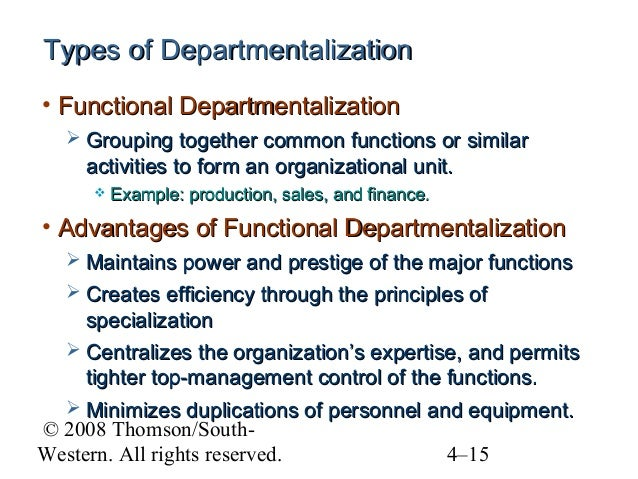 types of departmentalization