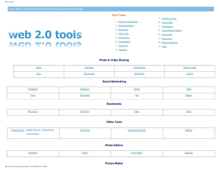 Web 2.0 Tools         mrs. alline: Directory of Educational Resources on the Web                                          ...