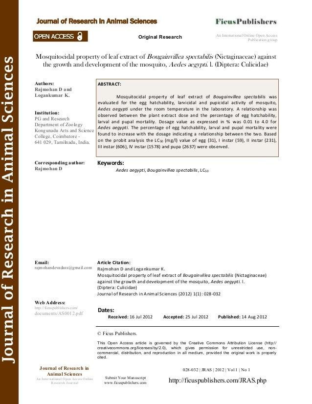 JournalofResearchinAnimalSciences Mosquitocidal property of leaf extract of Bougainvillea spectabilis (Nictaginaceae) agai...