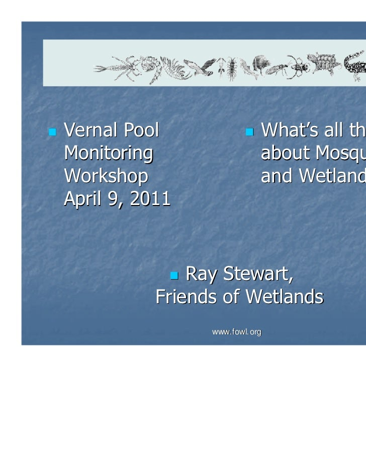 Vernal Pool                 What's all the BuzzMonitoring                  about MosquitoesWorkshop                    and...