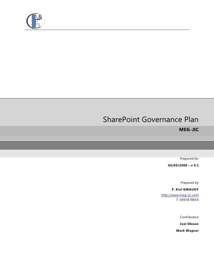 SharePoint Governance Plan                          MEG-JIC                               Prepared for                   0...