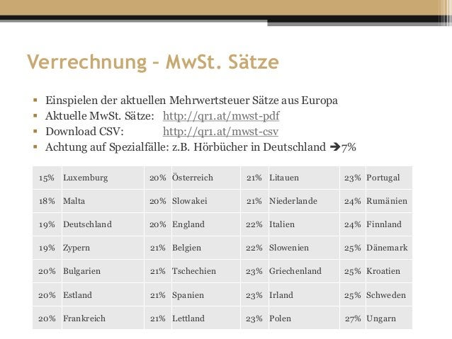 Verrechnung – MwSt. Sätze  Einspielen der aktuellen Mehrwertsteuer Sätze aus Europa  Aktuelle MwSt. Sätze: http://qr1.at...