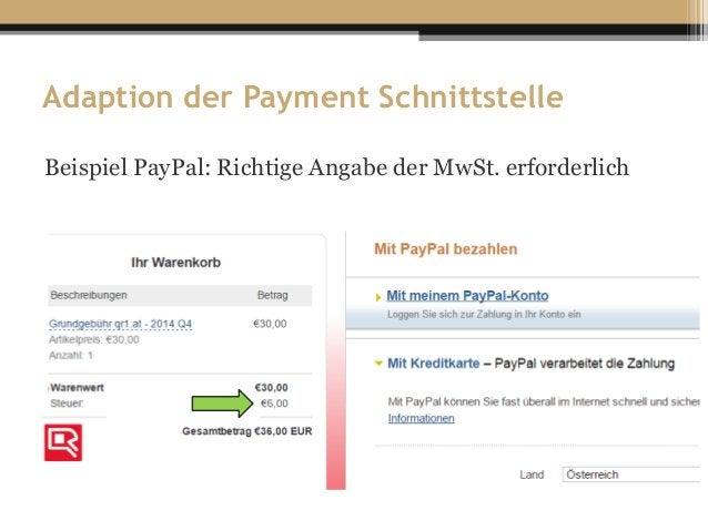 Adaption der Payment Schnittstelle Beispiel PayPal: Richtige Angabe der MwSt. erforderlich c c c