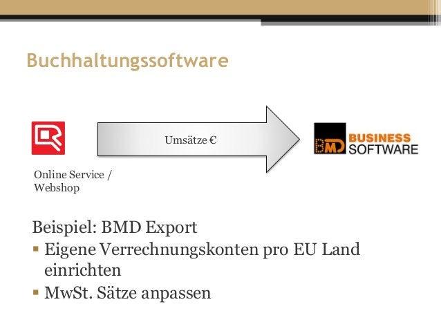 Buchhaltungssoftware Beispiel: BMD Export  Eigene Verrechnungskonten pro EU Land einrichten  MwSt. Sätze anpassen Umsätz...
