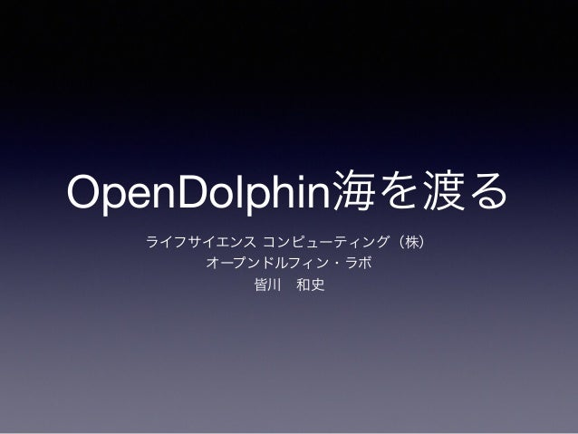 OpenDolphin海を渡る ライフサイエンス コンピューティング(株) オープンドルフィン・ラボ 皆川和史
