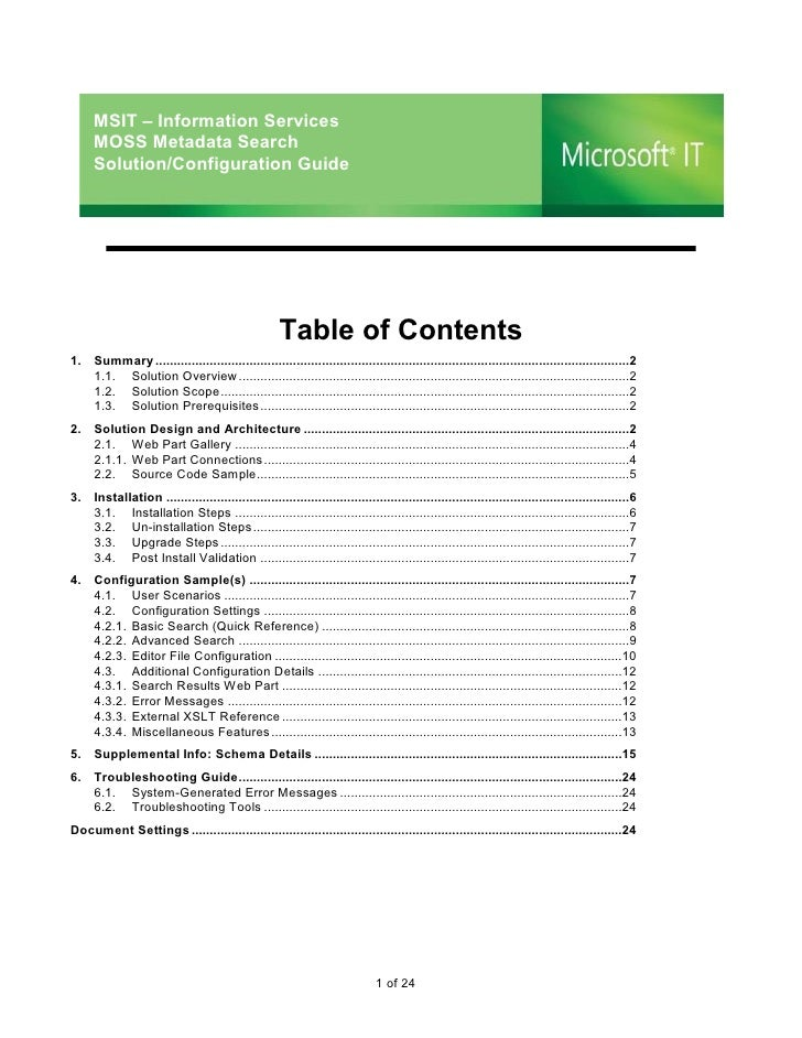 MSIT – Information Services      MOSS Metadata Search      Solution/Configuration Guide                                   ...