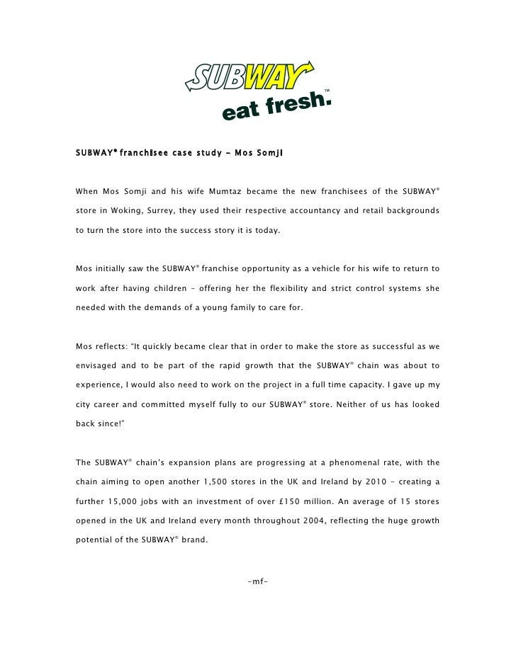 SUBWAY ® franchisee case study - Mos Somji    When Mos Somji and his wife Mumtaz became the new franchisees of the SUBWAY®...