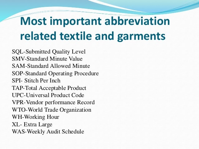 most common abbreviations of textile and garments technology