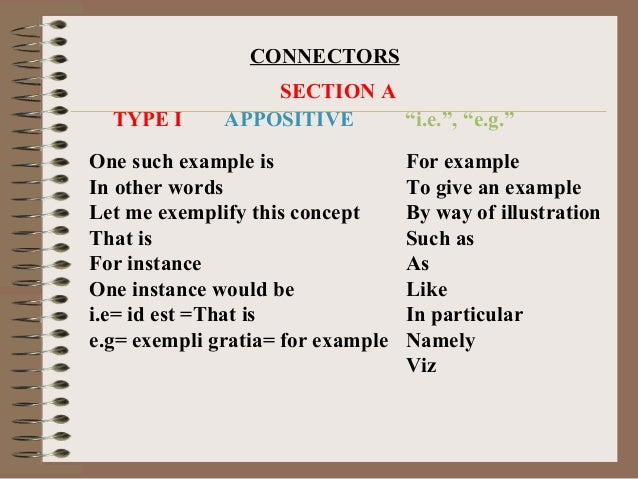 "CONNECTORS                  SECTION A  TYPE I      APPOSITIVE    ""i.e."", ""e.g.""One such example is                For exam..."
